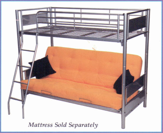 Bunk Bed Featuring; *Single Bed at top with safety guards *Futon that  reclines